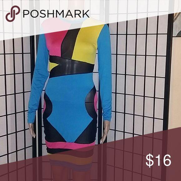 Color block club dress Clubwear Dresses Midi