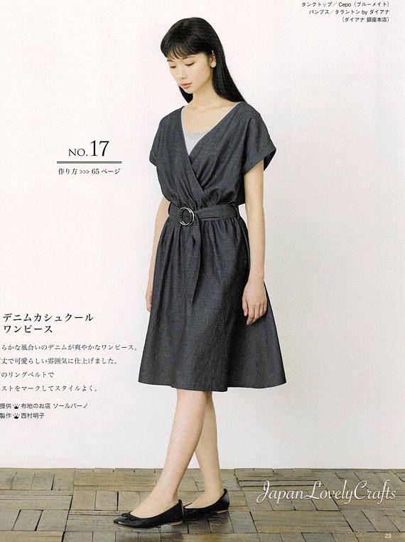 Japanese Style Simple Dress Pattern Japanese Sewing Pattern Simple Dress Pattern Pattern Dress Women One Piece Dress