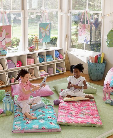 Love the double stacked Bulk Bins. Lakehouse Porch Playroom | Pottery Barn Kids