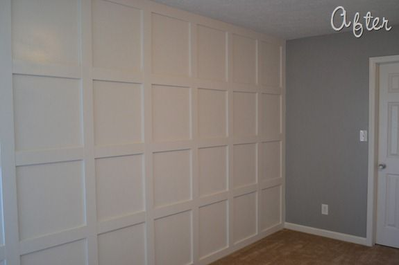 How to add board and batten molding to wall (Stonewall Jackson Gray by Dutch Boy is on the side wall)