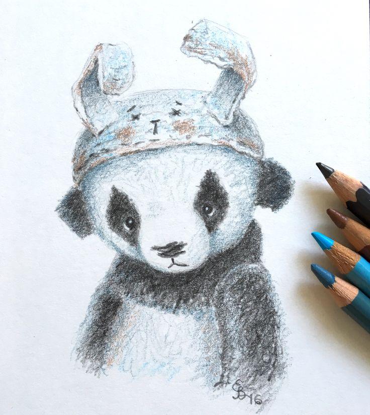 Pencil drawing of artist teddy bear panda by Eli Bichita