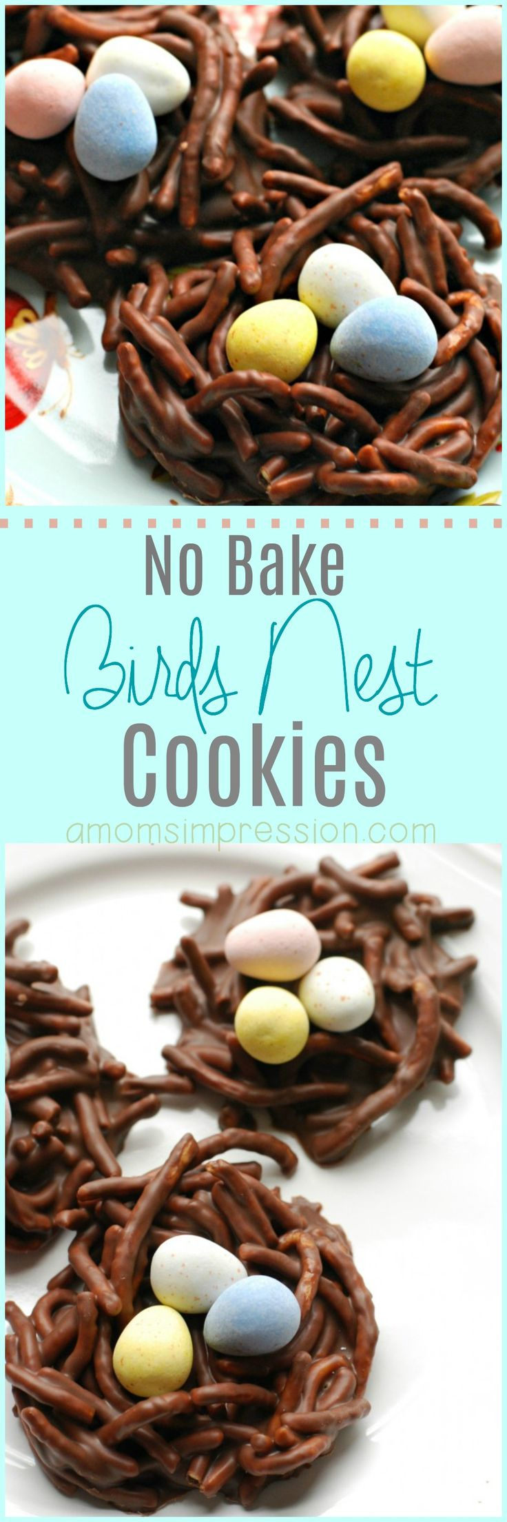 Adorable no bake bird's nest cookies recipe that uses both chocolate and peanut butter to make the most delicious nests. This version uses chow mein noodles to make the nests look realistic. #Easter #Eastercookies #birdsnest #spring via @kjhodson