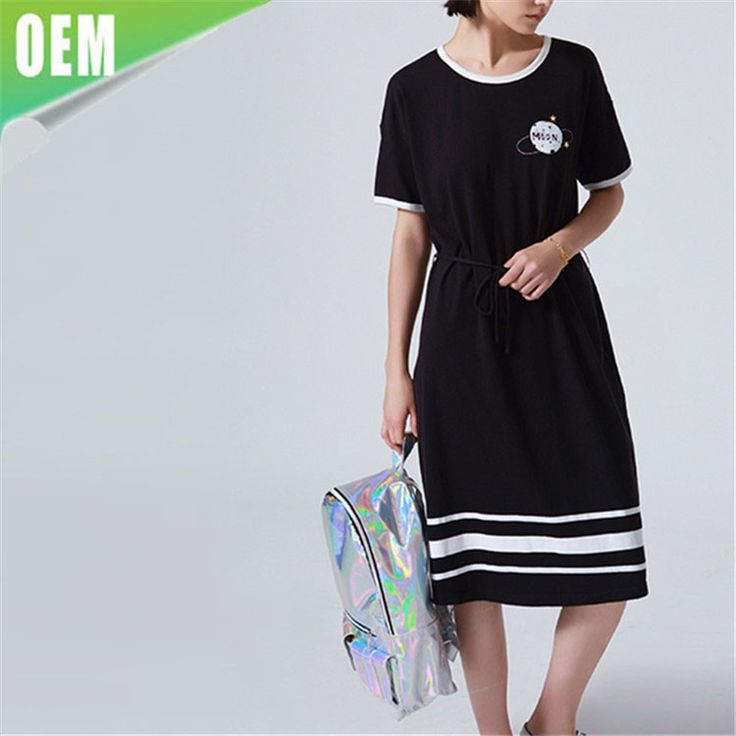 Short Sleeve Cotton One Piece Juniors Woman planet dresses #knee_support, #Dresses
