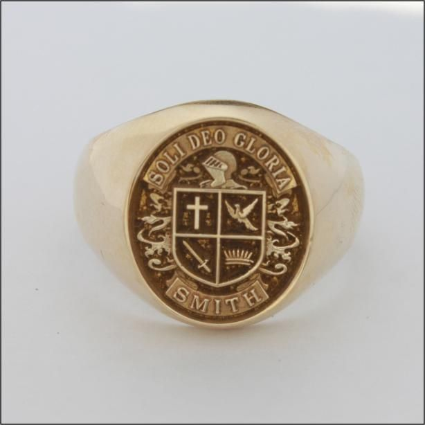 gold signet with brown antiquing