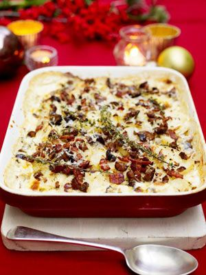 I love roast potatoes and you'll always find them on my Christmas table. But, if you've got a big crowd for Christmas then this gratin is an exciting and quite luxurious way of serving potatoes. You could either make them instead of, or as well as, your roast potatoes.