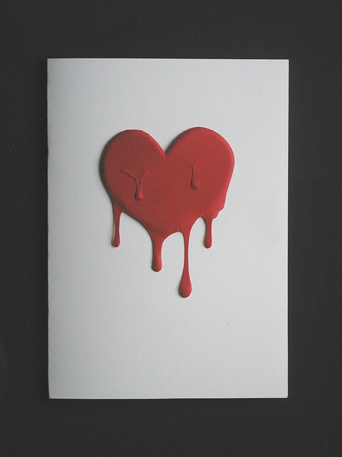 how to draw a broken heart bleeding step by step