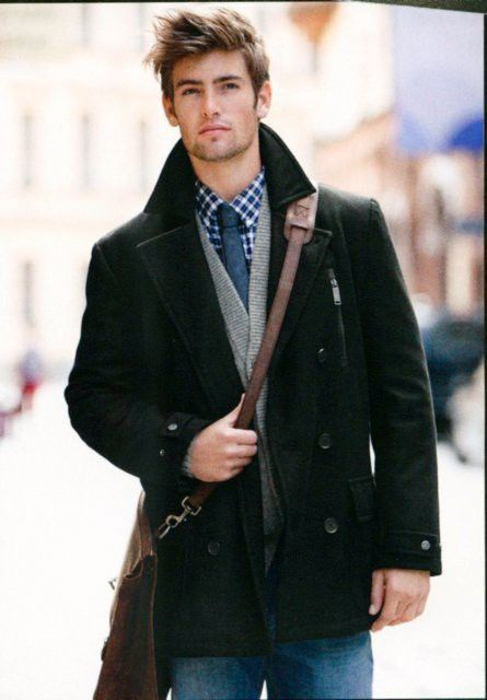 check shirt + blue tie + grey cardigan + peacoat & messenger = one well dressed man!!