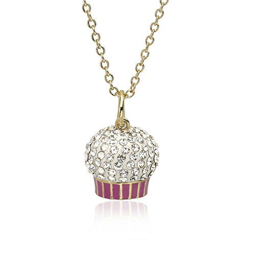 Molly Glitz Girls' 14k Gold Plated Crystal Cupcake Pendant Necklace, 14″