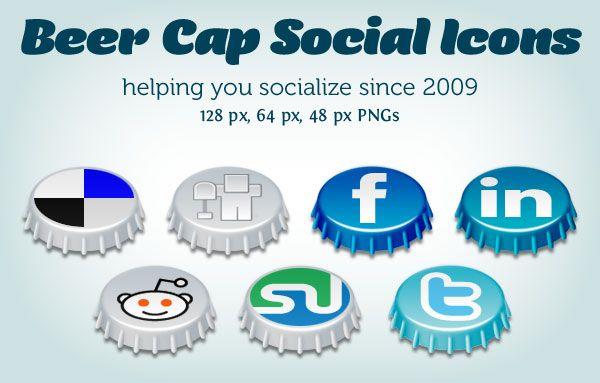 3D social icon set that has soda bottle caps.
