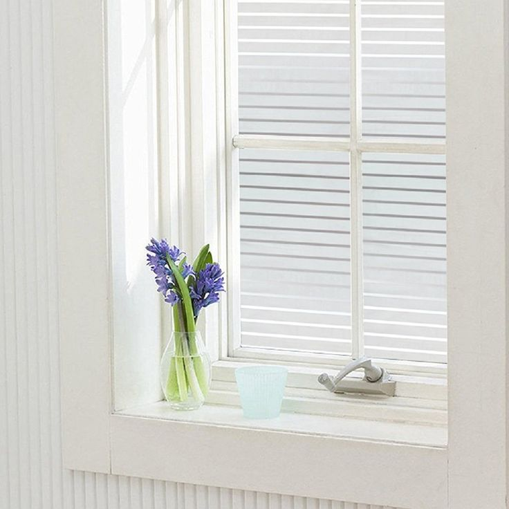 Zanbringe White Stripes Non-Adhesive Frosted Privacy Glass Window Decal/Film for…