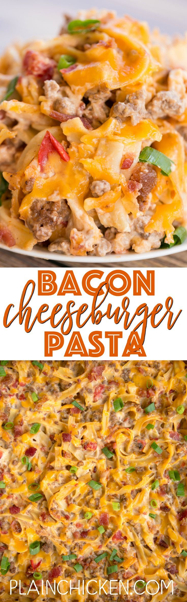 Bacon Cheeseburger Pasta - comfort food at its best! Everyone cleaned their plate!! Hamburger, bacon, hamburger seasoning, cheese soup, sour cream, cheddar cheese and diced tomatoes. Can make ahead and freeze casserole for later. Such an easy dinner recip