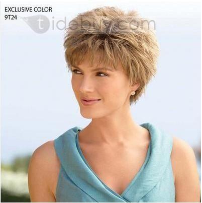 オーダーメイド スマートな女性ヘアスタイル ショートストレート ストロベリーブロンド 4インチ 100%人毛 ウィッグ