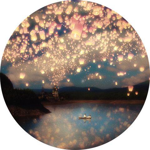 Paula Belle Flores's Flying Wish Lanterns Circle Decal