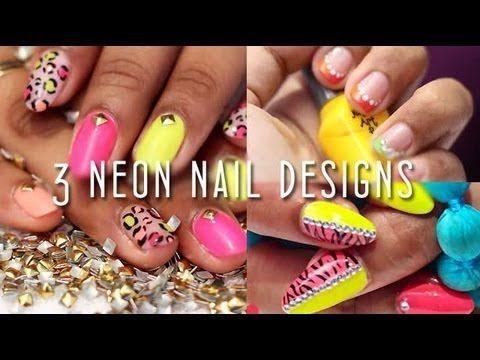 3 Neon Nail Designs http://ow.ly/KFwER #Nailart #NailDesigns  #VentunoNailArt