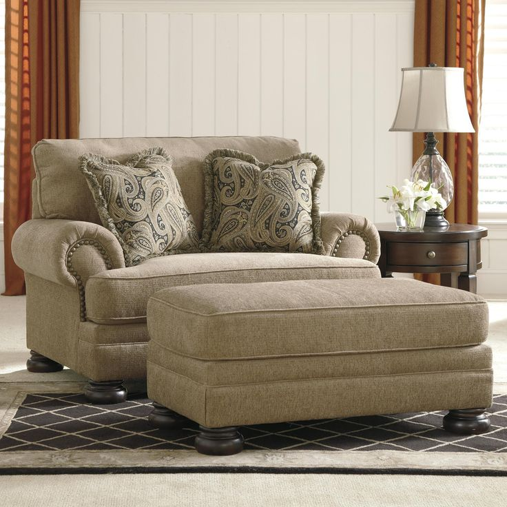 Keereel - Sand Transitional Chair and a Half & Ottoman by Signature Design by Ashley