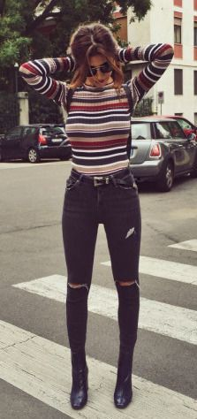 #fall #fashion / striped knit
