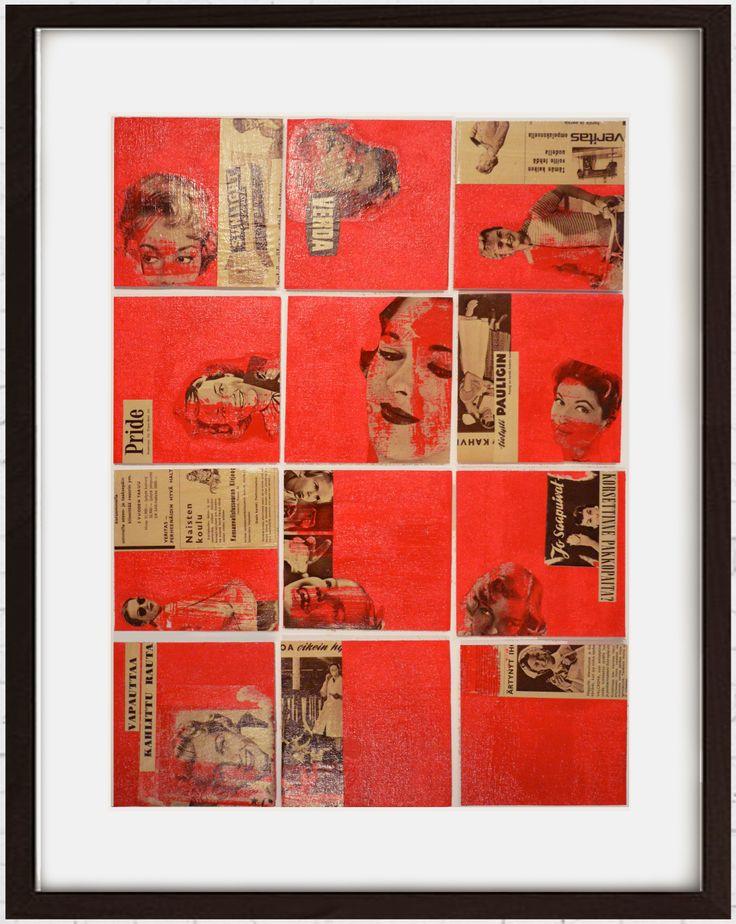 """Sisustustaulu, kolmiulotteinen kollaasiteos """"Ladies in red"""" mustissa vitriinikehyksissä. 73 x 63 cm. Vanhoja mainoskuvia, akryyli, lakka, canvas."""