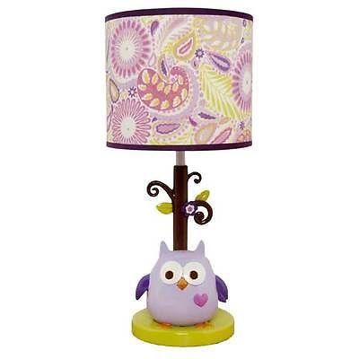 Kidsline Dena Owl Blossom Floral Forest Animals Girls Nursery Lamp Base & Shade