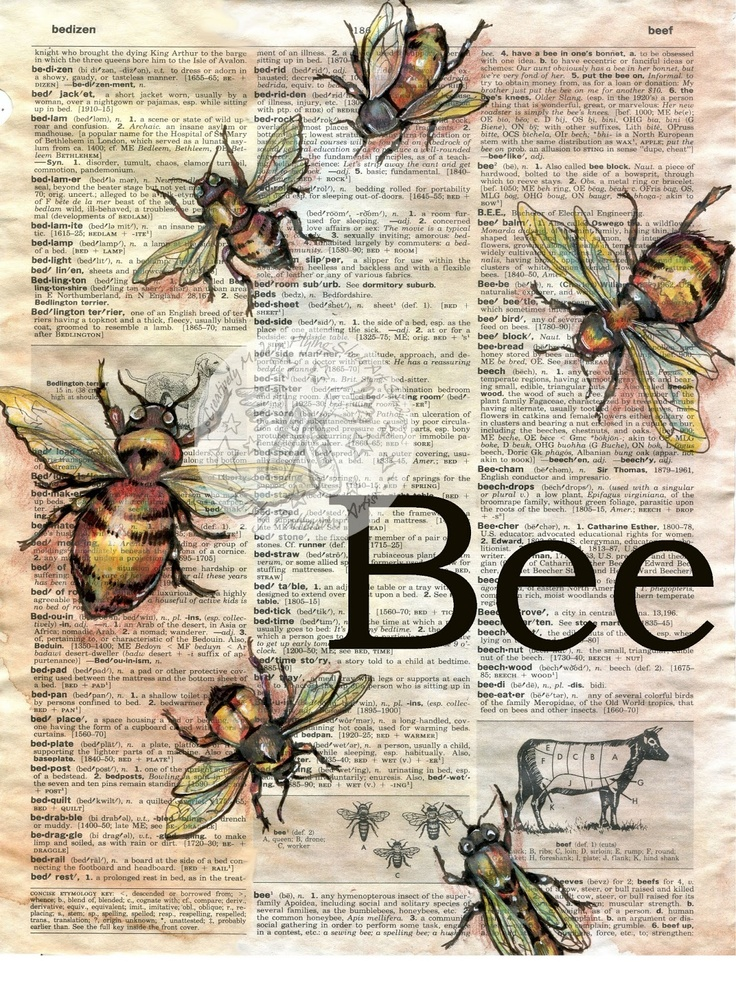 Items Similar To Print Bee Mixed Media Drawing On Distressed Dictionary Page Etsy