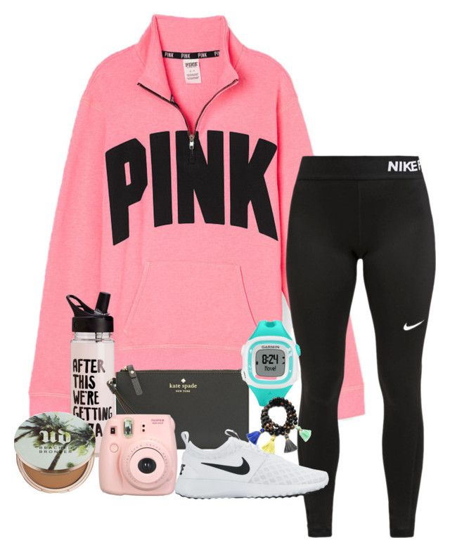 """""""Another VS outfit"""" by katiegraceland on Polyvore featuring Victoria's Secret PINK, NIKE, Kate Spade, Garmin, Fujifilm, Gold & Gray and Urban Decay"""