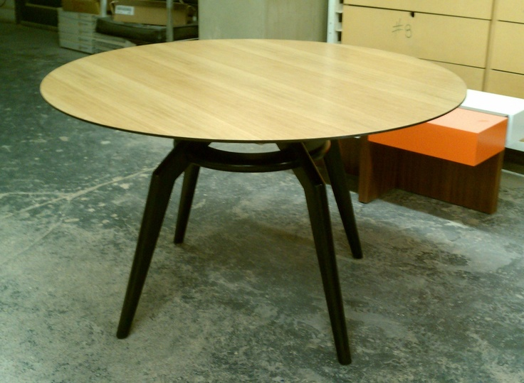Boris Table. Bamboo Tabletop And Black Lacquer Legs.