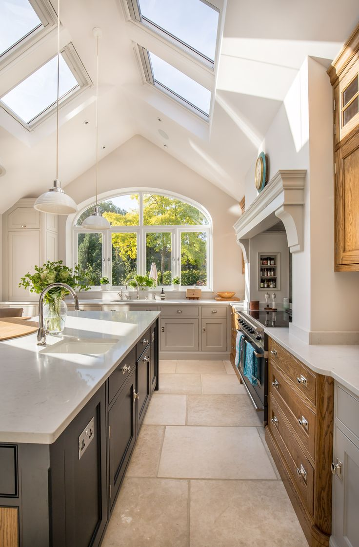 Stunning kitchen extension | pitched roof | vaulted ceiling | velux rooflight | modern shaker style | arch window | garden views | range cooker | kitchen island | Victorian property | London