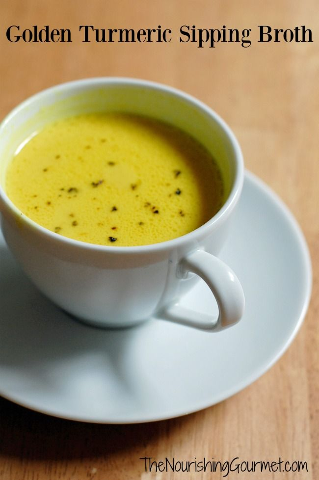 """This golden broth is flavored and colored by bright turmeric, ginger, with garlic undertones and richness from coconut milk. It's a savory version of """"Golden Milk"""" and so delicious! -- The Nourishing Gourmet"""