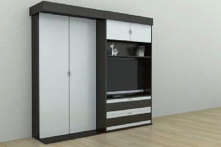 Модель Velara отличается отсутствием правой части — шкаф всего один, но он точно так же сдвигается в сторону (влево или вправо, в зависимости от конструктива), освобождая пространство для откидной кровати.