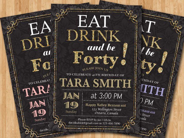 40th+Birthday+Invitation.+Adult+Gold+Glitter+Birthday+by+arthomer,+$10.00 - Themed parties ...