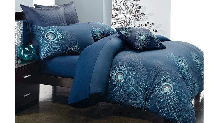 Flourish Navy Quilt Cover Set.  #peacock