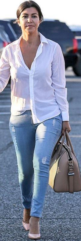 Who Made Kourtney Kardashians Blue Skinny Jeans, Nude -1020