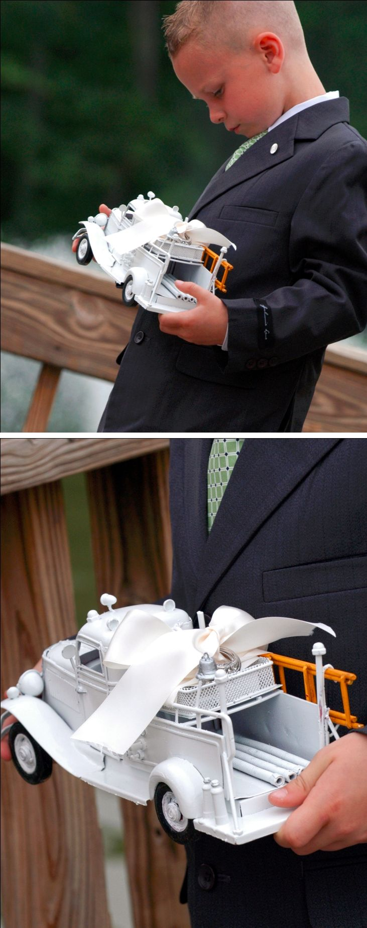 DIY: Firefighter Wedding Ring Bearer Fire Truck | Shared by LION