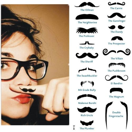 lol Moustache Finger Tattoos - 19 per pack