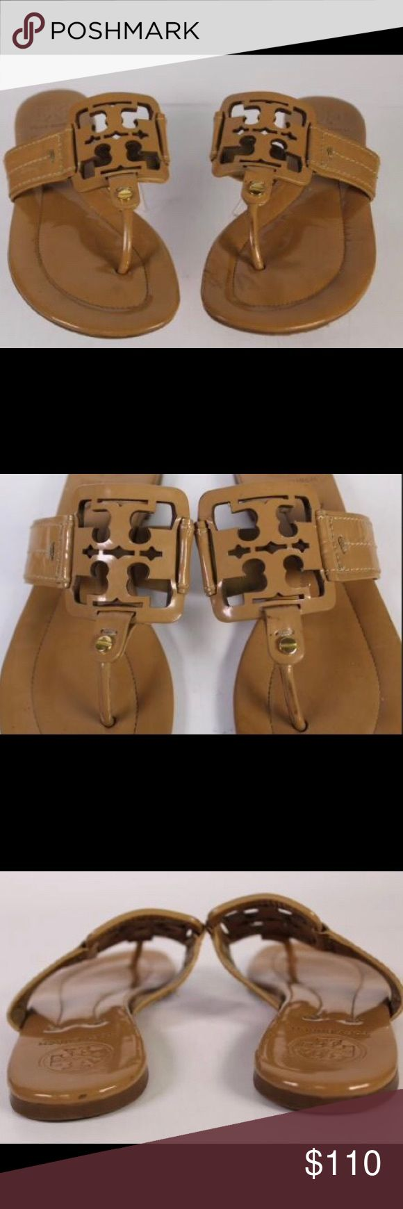 Tory Burch Sandals Tory Burch Thongs Tan Patent Leather Flats Size 7 M  Length is 9.5