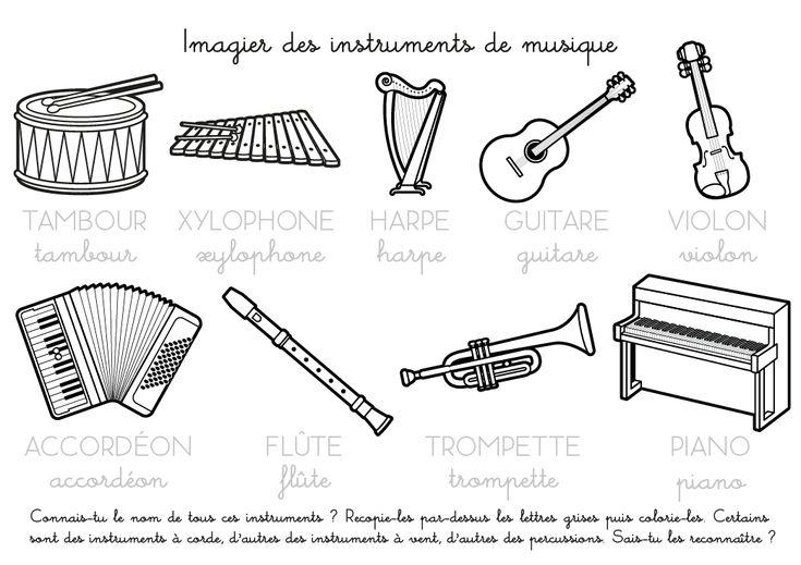 Coloriage imprimer imagier des instruments de musique fle musique pinterest musique - Feuille de musique a imprimer ...