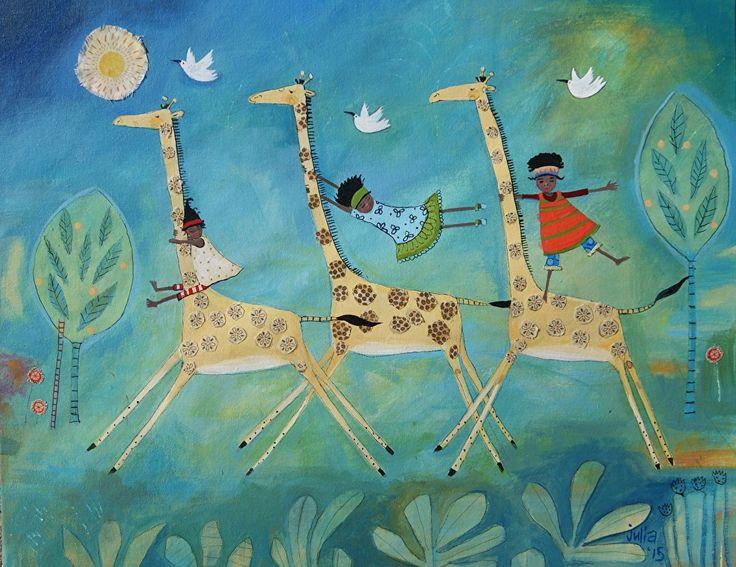 """Cool Giraffe tricks by julia cairns  ~ 16"""" x 20"""""""