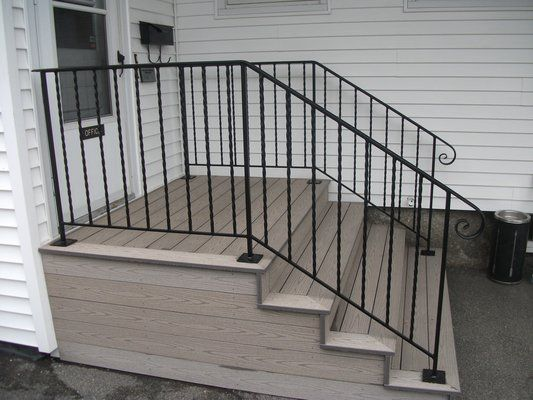 Best Stair Cases With Wrought Iron Outside Exterior Wrought Iron Handrails On Composite Steps 400 x 300