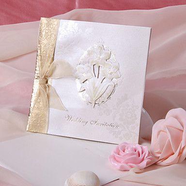 Flower Ribbon bryllup invitasjon - sett med 50 – NOK kr. 364