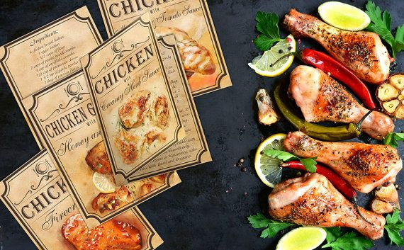 5 chicken recipes recipe cards Instant by BlueberryDreamDesign
