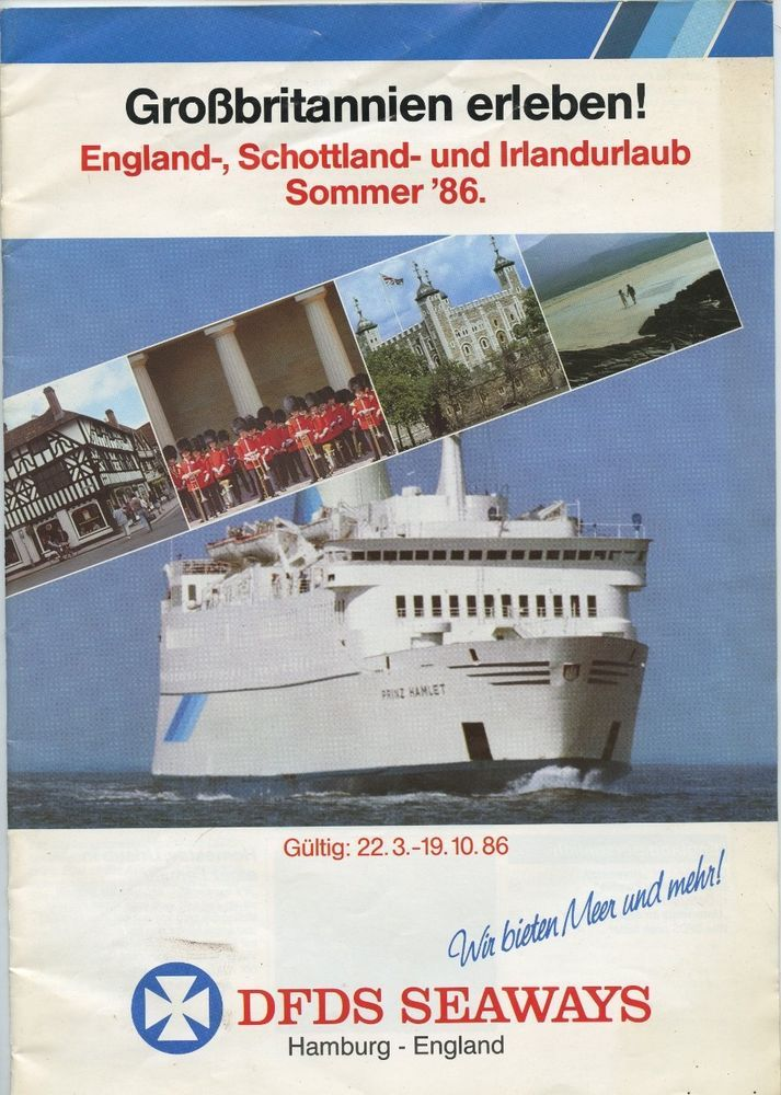 Dfds Scandinavian Seaways Magazine 1986 Hamburg To England Prinz Hamlet German Irland Urlaub Schottland England
