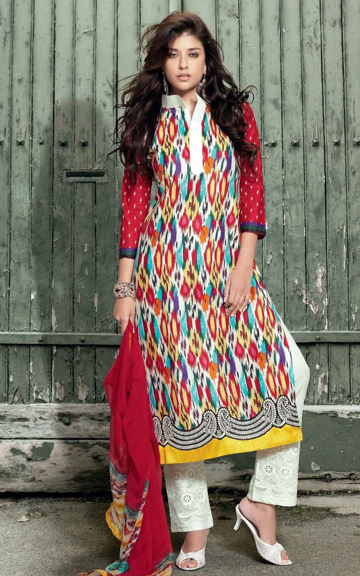 RED & OFF WHITE COTTON PRINTED SALWAR KAMEEZ - WIS 144