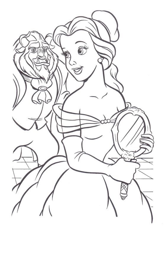 Beast Seeing The Beauty Belle Coloring Pages   Princess Belle Coloring Pages  : Princess Coloring