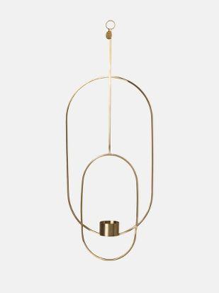 Hanging Tealight Deco - Oval - Brass