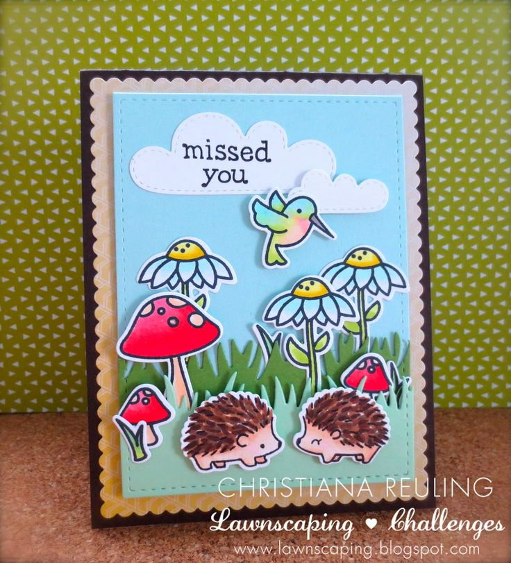 Lawn Fawn - Gleeful Gardens + coordinating dies, Hedgehugs + coordinating dies, Just My Type Too, Grassy Border, Spring Showers _ such a happy card by Christy at Christy Gets Crafty: Missed You - Lawnscaping Challenge #103
