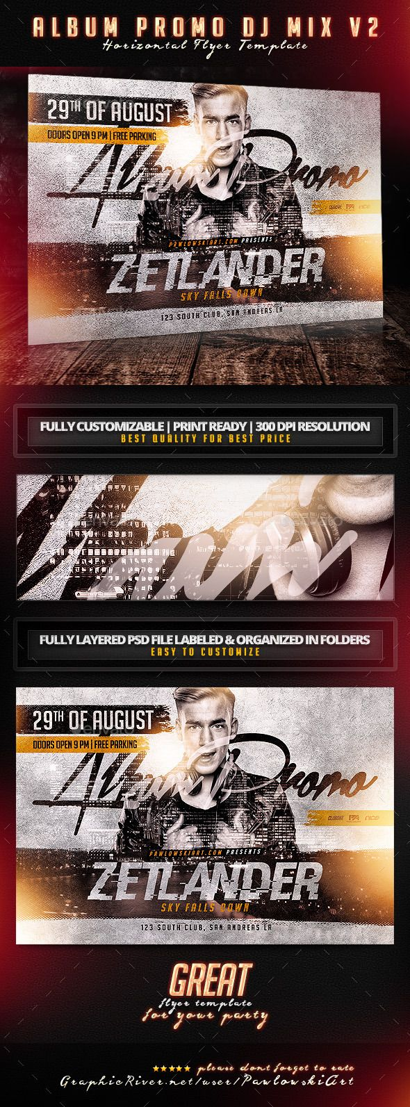 Album Promo DJ Mix v2 Horizontal Flyer Template - Concerts Events