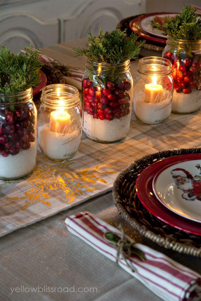 25 Christmas Centerpieces That Set The Scene For A Festive Feast Christmas Jars Christmas Mason Jars Christmas Table Decorations