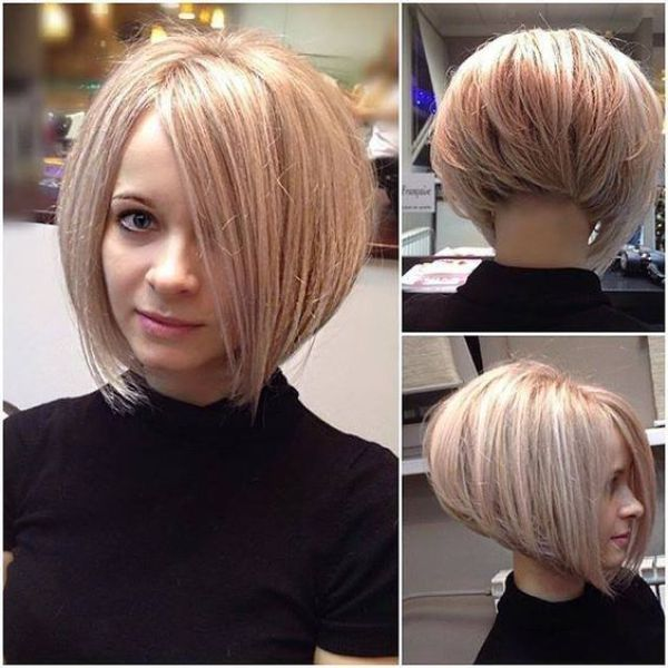 Blonde Fluffy Inverted Bob Haircut, bob haircuts for fine hair,inverted bob with…