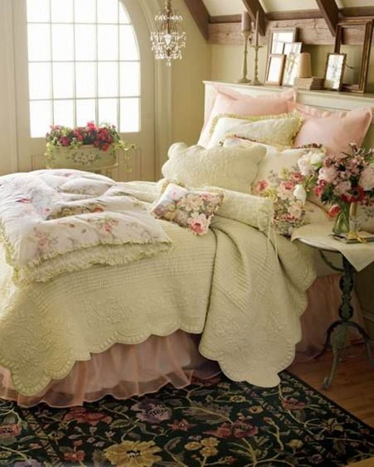 Beauteous Shabby Chic Bedroom For Womens With Cozy Bed And Vintage Round Side Table With Flowers Centerpiece Also Pendant Lamp And Classic Floral Rug Over Wooden Floor - Use J/K to navigate to previous and next images