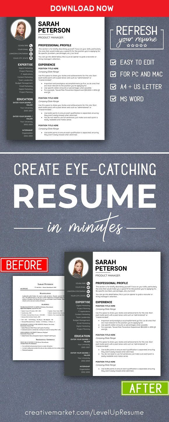 making resume format%0A Modern RESUME TEMPLATE with Photo by LevelUpResume on  mywpthemes xyz