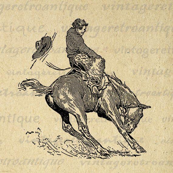 Printable Image Bucking Bronco Horse Cowboy Download Horseback Rider Digital Graphic Artwork Vintage Clip Art 18x18 HQ 300dpi No.3148 @ vintageretroantique.etsy.com